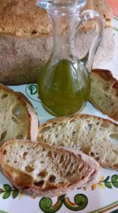 Bread and oil.